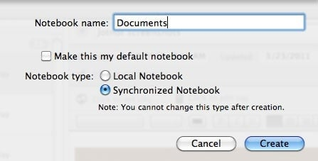 Name your notebook 'Documents'
