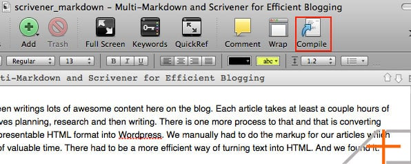Click on the Compile button to turn your MultiMarkDown text into HTML.