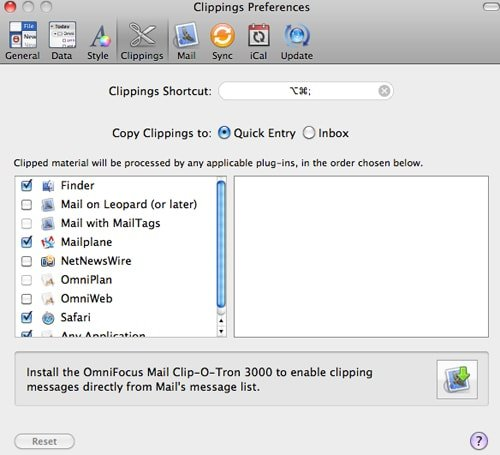 Omnifocus clippings preferences