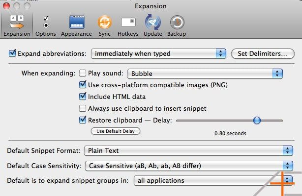 textexpander settings