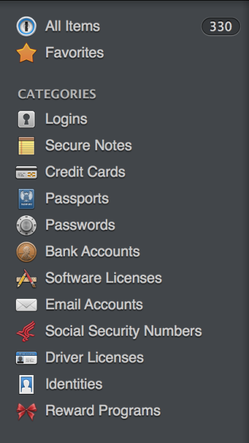 The sidebar of 1Password. I'll cover each category.