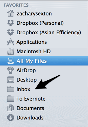 Inbox in Finder