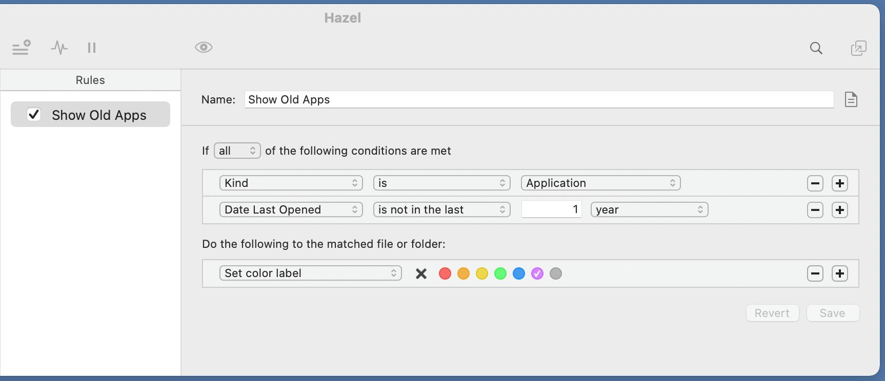 Hazel highlight old apps